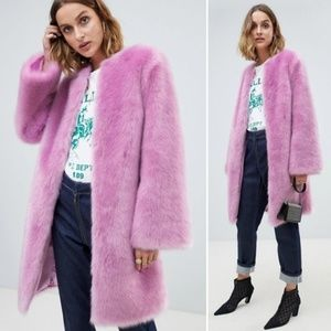 NWT ASOS DESIGN Flared Sleeve Faux Fur Midi Coat